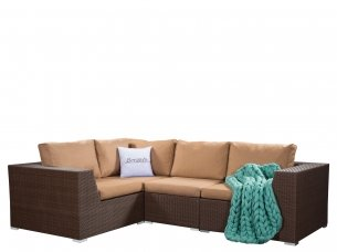 Угловой диван CRIMEA brown модульный из иск. ротанга